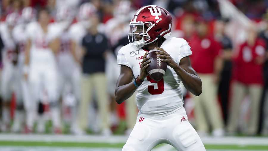 Indiana quarterback Michael Penix Jr. (9) throws against Ball State during the first half of a college football game in Indianapolis, Saturday, Aug. 31, 2019. (AP Photo/Michael Conroy)
