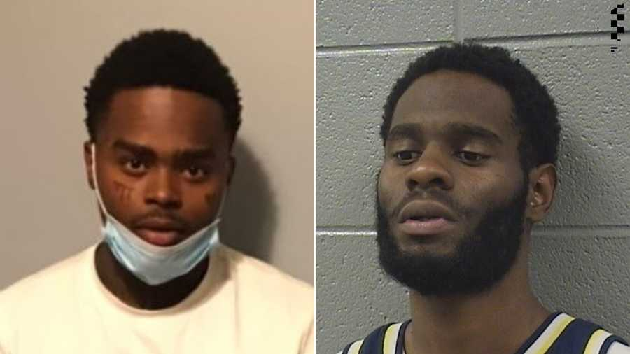"quintin henderson left, 28, was set to be released from the cook county jail on may 2 ""for a narcotics charge when he provided his personal information to jahquez scott right for a promise of 1,000,' the sheriff's office said in a statement"