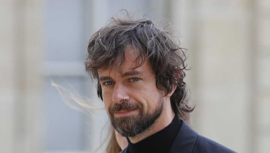Twitter CEO Jack Dorsey arrives at the Elysee Palace to meet French President Emmanuel Macron Friday, June 7, 2019 in Paris.