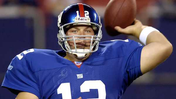 Aug. 17, 2006: In this file photo, New York Giants quarterback Jared Lorenzen passes the ball in the fourth quarter against the Kansas City Chiefs during NFL football Thursday night, Aug. 17, 2006, at Giants Stadium in East Rutherford, N.J.