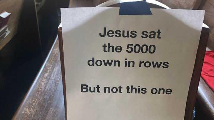 Redeemer Presbyterian Church of New Orleans use signs with scripture to help congregation socially distance