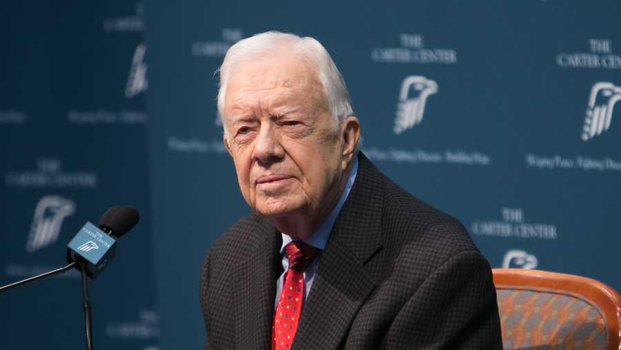 Former President Jimmy Carter talks during a press conference at the Carter Center on August 20, 2015 in Atlanta, Georgia.