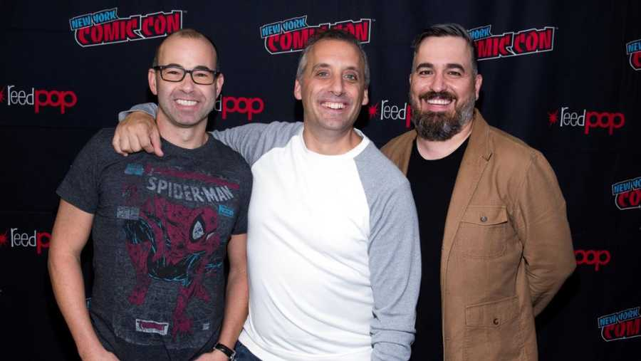 "James ""Murr"" Murray, from left, Joe Gatto and Brian ""Q"" Quinn attend New York Comic Con to promote truTV's ""Impractical Jokers"" at the Jacob K. Javits Convention Center on Friday, Oct. 4, 2019, in New York. (Photo by Charles Sykes/Invision/AP)"