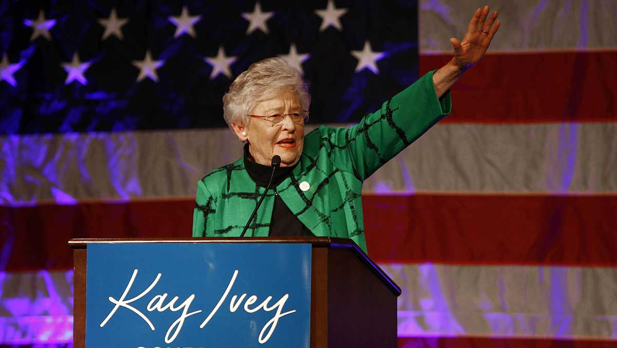 Alabama Gov. Kay Ivey waves as she speaks to supporters at a watch party after she won the gubernatorial election, Tuesday, Nov. 6, 2018, in Montgomery, Ala. Ivey, who became Alabama's governor last year when her predecessor resigned in a cloud of scandal, was elected Tuesday to a full term after fending off a challenge from Democratic rival Walt Maddox.