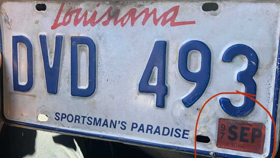 Slidell Police Department posted this photo of an expired license plate from 1997, which was taken during a recent traffic stop.