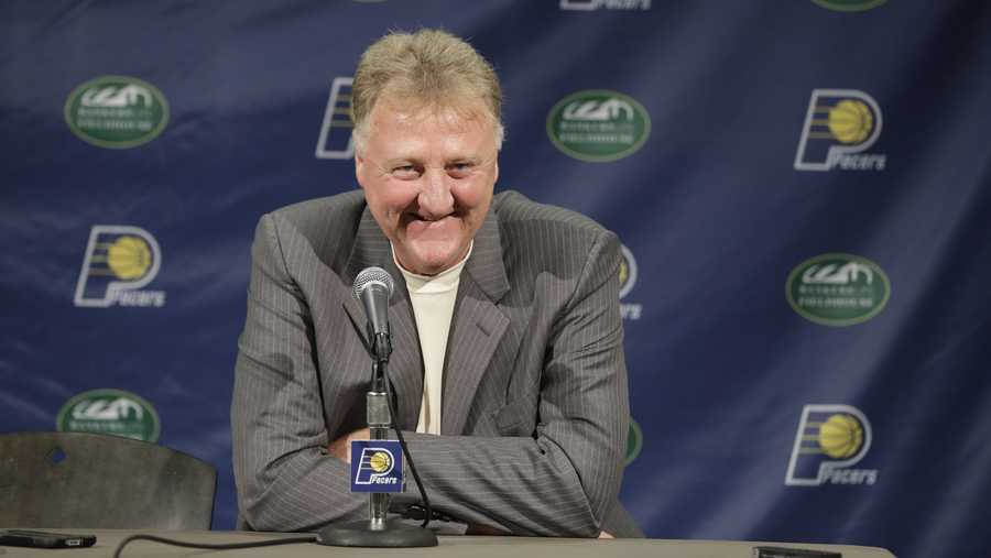 Indiana Pacers president of basketball Larry Bird smiles during a news conference Friday, July 8, 2016, in Indianapolis.