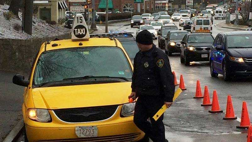 Police officer at scene of fatal crash involving taxi cab on March 5, 2016
