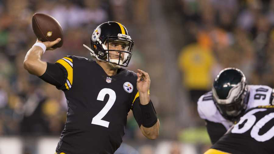 Mason Rudolph of the Pittsburgh Steelers throws a pass in the third quarter during the preseason game against the Philadelphia Eagles at Lincoln Financial Field on August 9, 2018 in Philadelphia, Pennsylvania.
