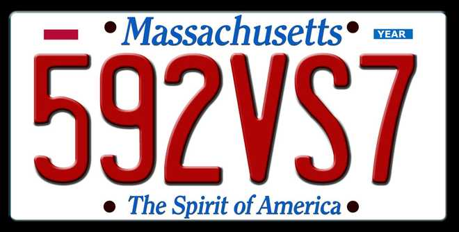 The license plate of the navy blue 2019 Mazda CX5 that was stolen from Boston nurse practitioner Molly MacKay.