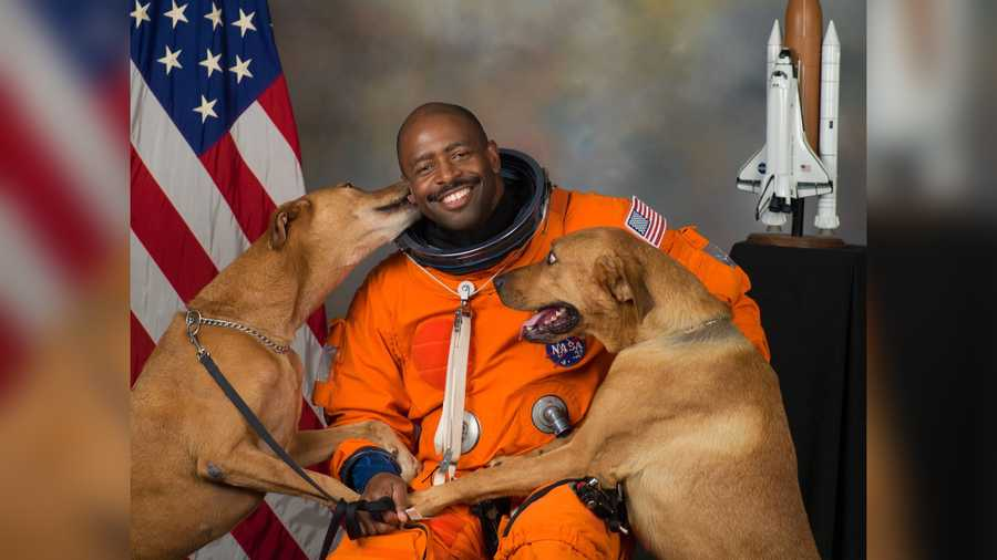 Melvin's now-famous NASA portrait features his two rescue dogs, Jake and Scout, who he secretly smuggled into NASA for the photo shoot.
