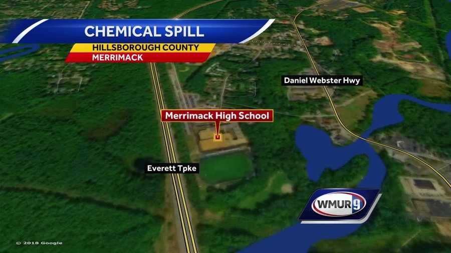 Merrimack High School chemical spill map