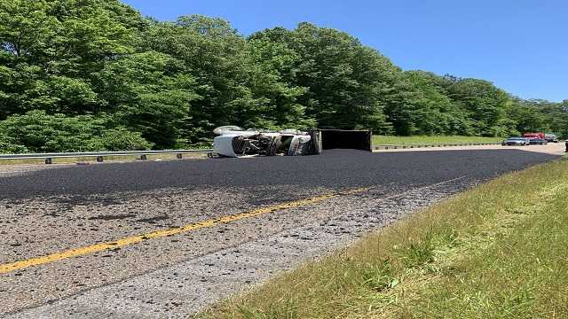 Overturned 18-wheeler