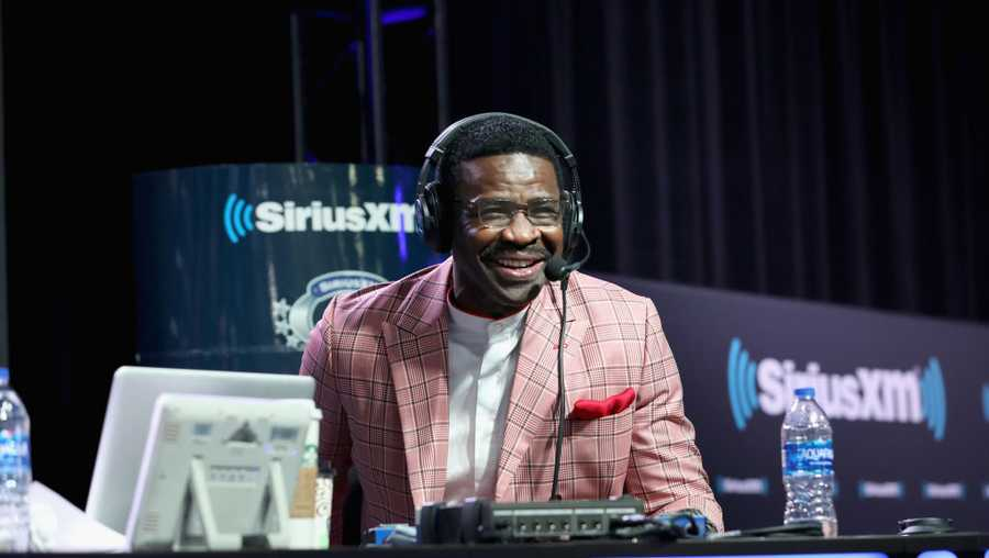 Michael Irvin attends SiriusXM at Super Bowl LIII Radio Row on January 31, 2019 in Atlanta, Georgia.