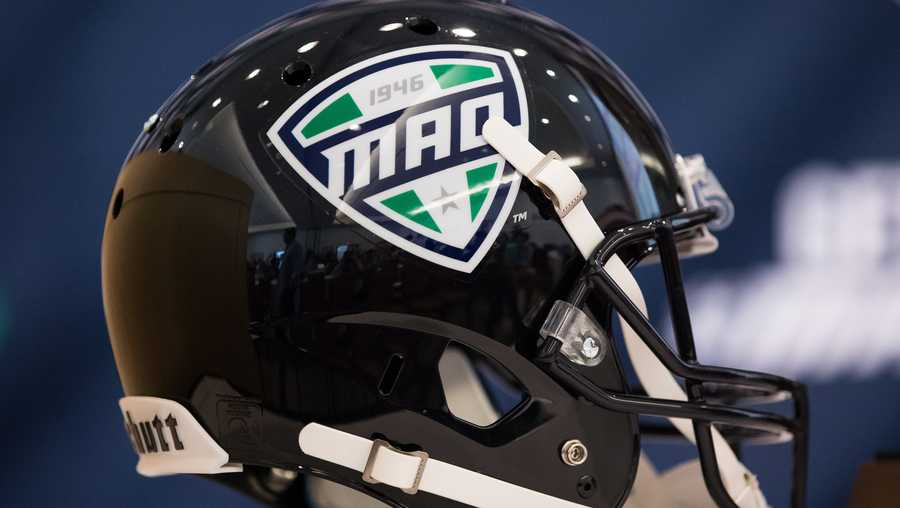 A general view of a football helmet with the MAC logo on display during the Mid-American Conference football media day on July 26, 2017 at the Pro Football Hall of Fame in Canton, Ohio.