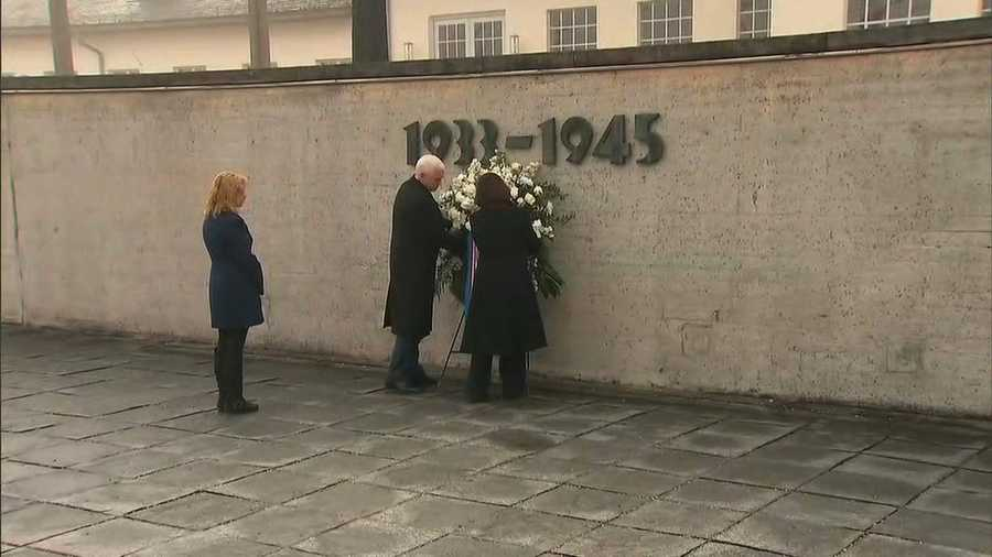 Vice President Mike Pence visited Dachau prison and observed moments of silence at memorials to the camp's Jewish and Catholic victims