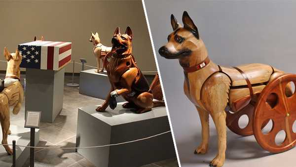 A temporary exhibit featuring Wounded Warrior Dog wooden sculptures by artist James Mellick will be on display at the National Museum of the U.S. Air Force from Nov. 8, 2019 through Jan. 31, 2020.