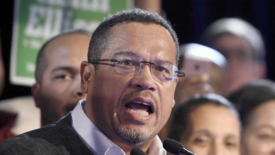 In this Nov. 6, 2018, file photo, Minnesota Attorney General-elect Keith Ellison speaks during the election night event in St. Paul, Minn.