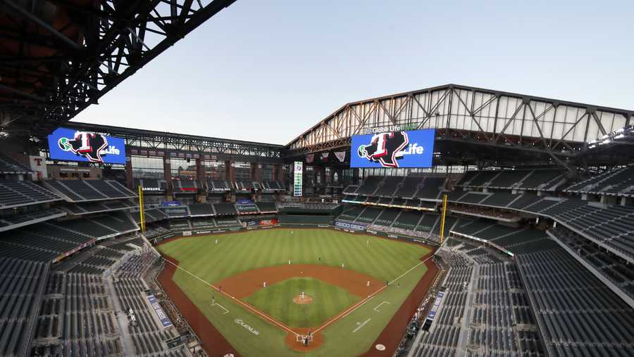 Globe Life Field is shown in Arlington, Texas.