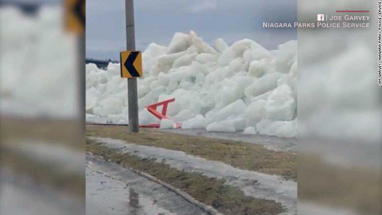 Officials warned drivers to be aware of the encroaching wall of ice.