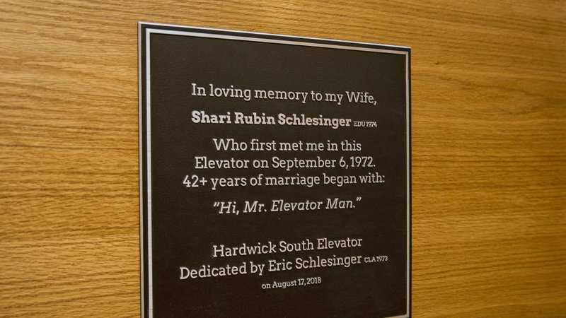 This Wednesday, Aug. 15, 2018, photo provided by Temple University shows a plaque commemorating a 45-year relationship that began when Sharyn Rubin first met Eric Schlesinger as he held open elevator doors in a dorm for her during move-in day on Sept. 6, 1972, with the plaque installed outside the elevator where they met at the university in Philadelphia.