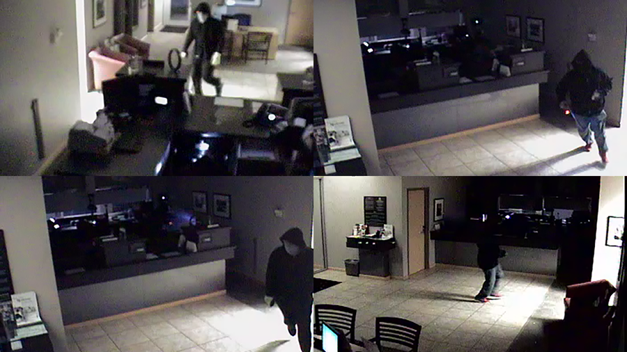 Surveillance images from inside the Bank of the Ozarks