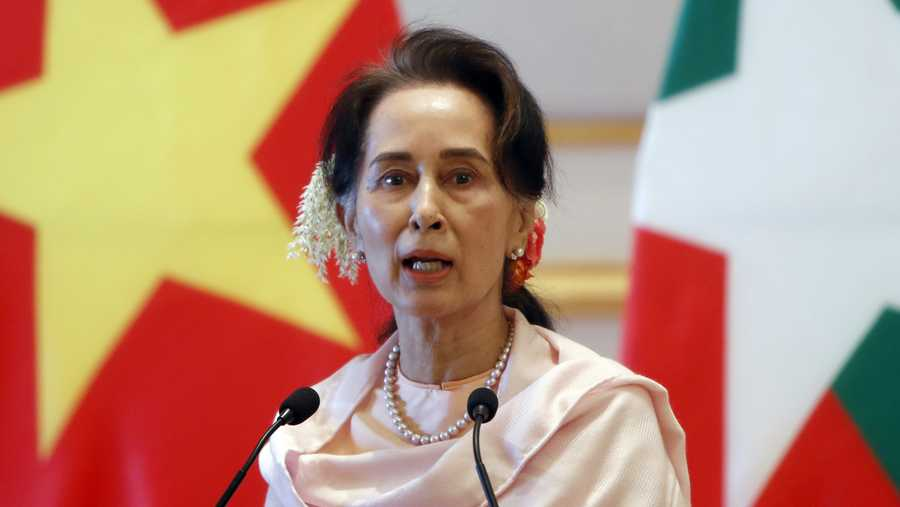 In this Dec. 17, 2019, file photo, Myanmar's leader Aung San Suu Kyi speaks during a joint press conference with Vietnam's Prime Minister Nguyen Xuan Phuc after their meeting at the Presidential Palace in Naypyitaw, Myanmar.