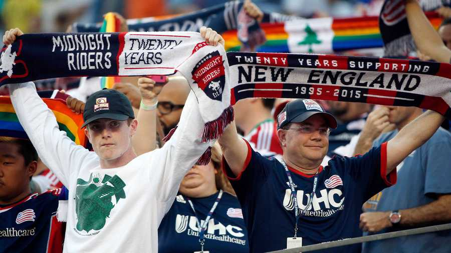 New England Revolution fans before an MLS soccer game between the Revolution and the Seattle Sounders Saturday, May 28, 2016, in Foxborough, Mass. (AP Photo)