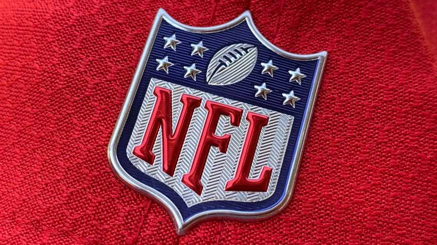 The official NFL logo is seen on the back of a hat in Los Angeles on July 21, 2020.
