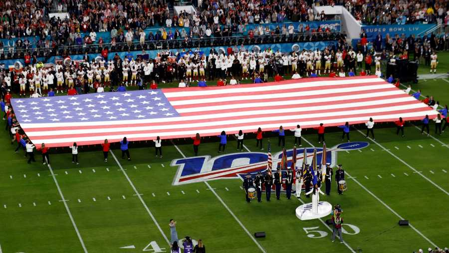 Demi Lovato performs the national anthem before the NFL Super Bowl 54 football game Sunday, Feb. 2, 2020, in Miami Gardens, Fla.