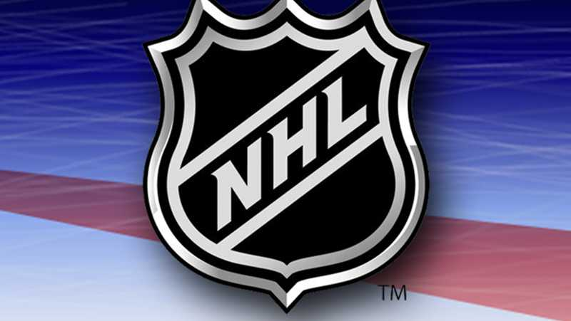 The NHL logo is shown on a graphic illustrating an ice rink.