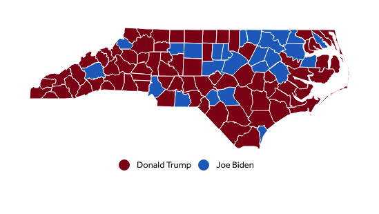 Map shows how North Carolina counties voted in the 2020 presidential election.