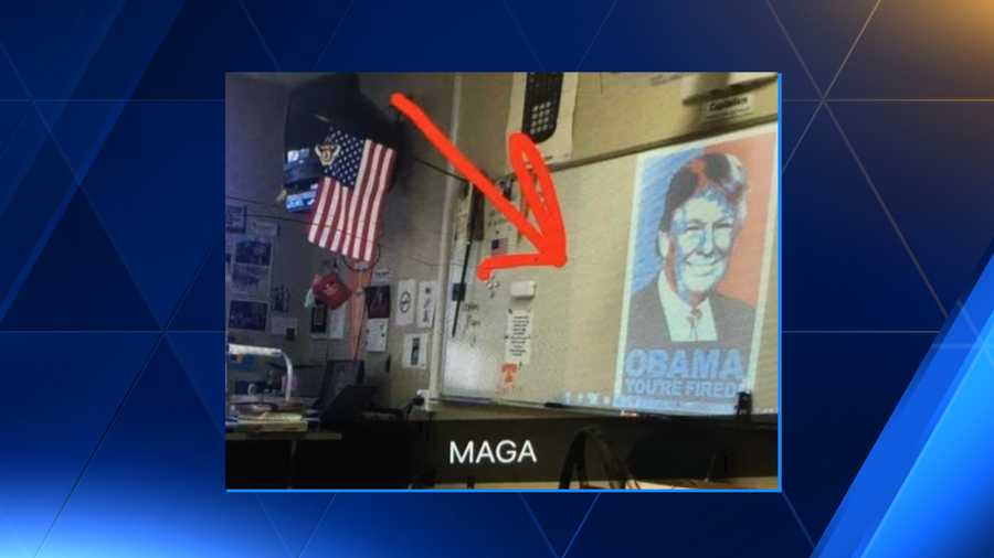 A Northridge High School teacher is on leave after displaying a Donald Trump meme in the classroom after Tuesday's election.