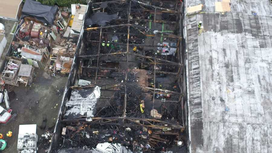 An aerial photo shows what the inside of the Ghost Ship warehouse in Oakland looks like after a deadly fire on Friday, Dec. 2, 2016.