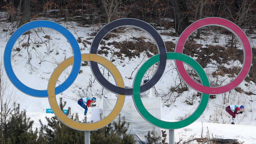 Competitors pass the Olympic rings during the Men's 50km Mass Start Classic at the Alpensia Cross Country Centre during day fifteen of the PyeongChang 2018 Winter Olympic Games in South Korea.