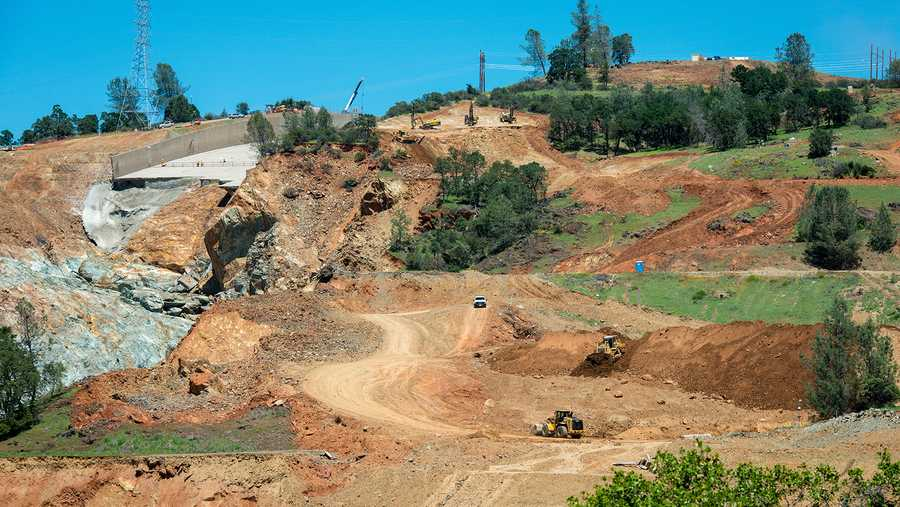 Excavation work continues on the southeast side of the Lake Oroville flood control spillway in Butte County, California. Photo taken May 5, 2017.