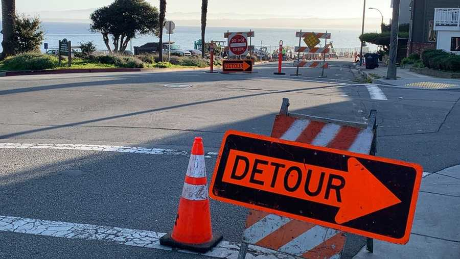 FILE - One lane of Ocean View Blvd. closed in Pacific Grove