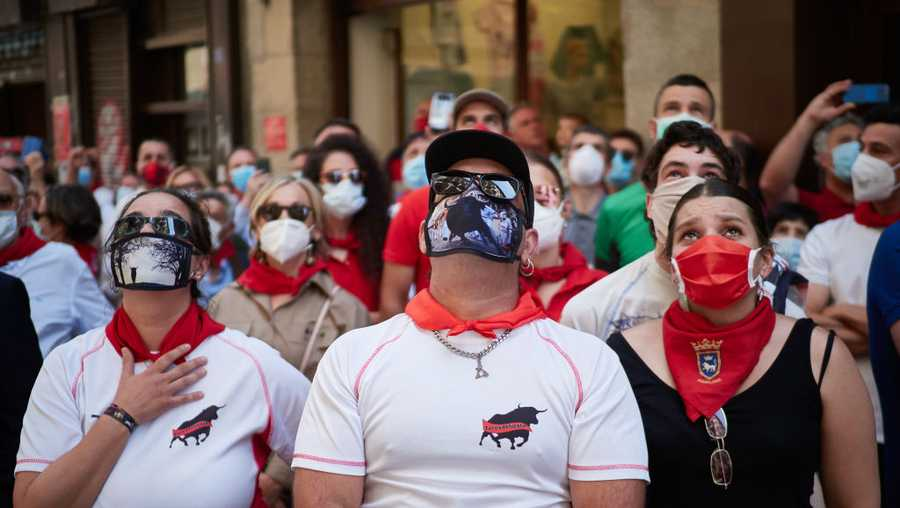 Demonstration regarding bullfighting and the San Fermin festival and the effects of the total paralysis caused by the coronavirus COVID-19, on June 20, 2020 in Pamplona, Navarra, Spain.