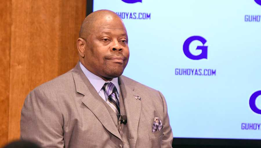 nba hall of famer and former georgetown hoyas player patrick ewing  watches as he is introduced as the georgetown hoyas new head basketball coach john thompson jr athletic center on april 5, 2017 in washington, dc