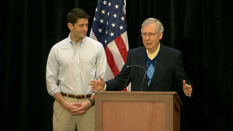 Speaker of the House Paul Ryan and Senate Majority Leader Mitch McConnell speak at a GOP retreat in Philadelphia on Jan. 26, 2017.