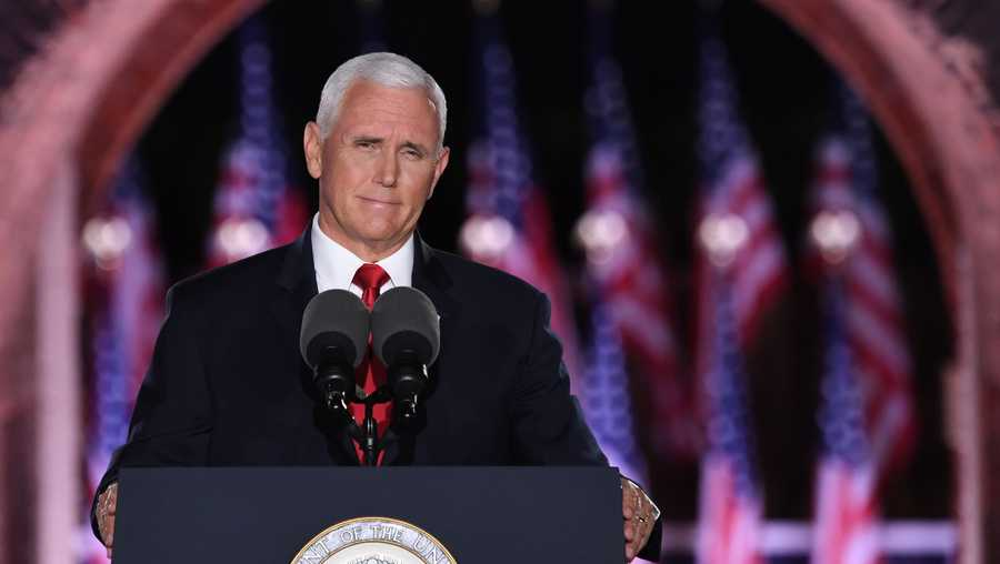 U.S. Vice President Mike Pence speaks during the third night of the Republican National Convention at Fort McHenry National Monument in Baltimore, Maryland, August 26, 2020. (Photo by SAUL LOEB/AFP via Getty Images)