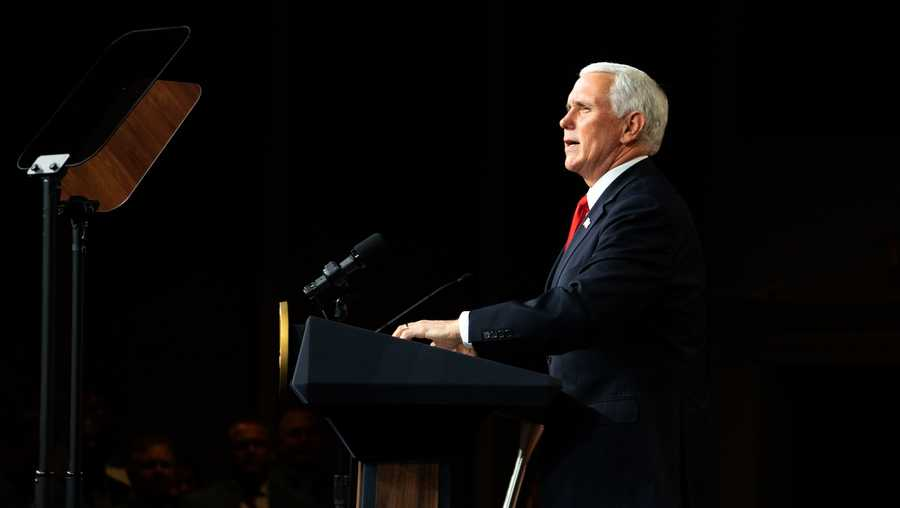 FILE: U.S. Vice President Mike Pence speaks during a visit to Rock Springs Church to campaign for GOP Senate candidates  on January 4, 2021 in Milner, Georgia.