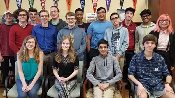 Pictured left to right, first row: Bridget Fuller, Naomi Stoner, Milan Parikh, Evan Peters; Second row: Antoine Langree, Nolan Brown, Matthew Dumford, Suvan Adhikari, Gabrielle Chiong; Third Row: Raymond Conroy, Nathan Miller, Peter Hattemer, Meoshea Britt, Dhruv Rungta, Nicholas Deck, Mohit Pinninti. Not pictured: Alan Zhang