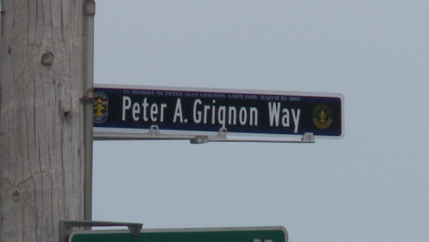 Street sign dedicated to fallen LMPD officer