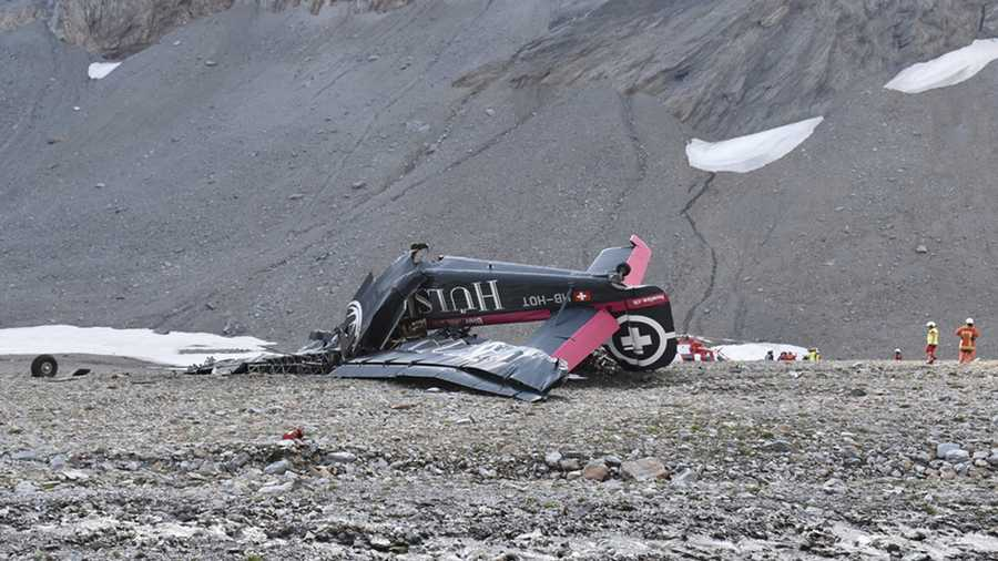The photo provided by Police Graubuenden shows the wreckage of the old-time propeller plane Ju 52 after it went down went down Saturday Aug, 4 2018 on the Piz Segnas mountain above the Swiss Alpine resort of Flims, striking the mountain's western flank about 8,330 feet above sea level. All 20 people on board were killed, police said Sunday, Aug. 5, 2018.