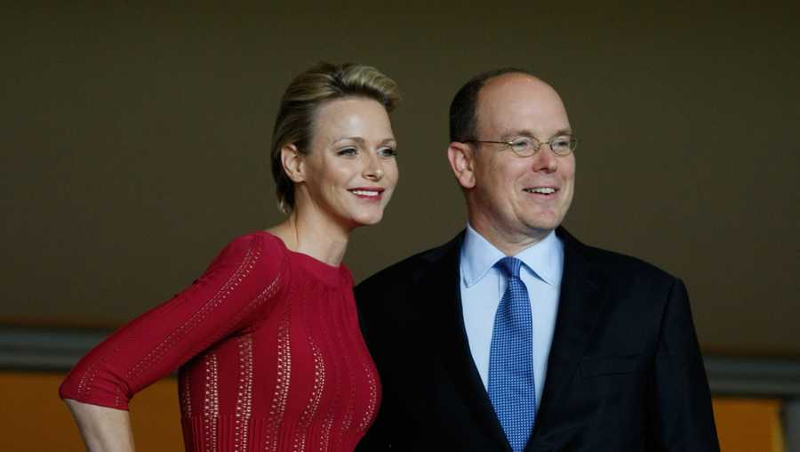 Prince Albert II of Monaco, right, and his wife Princess Charlene, during the Super Cup final soccer match at the Louis II stadium, in Monaco, Friday, Aug. 31, 2012.