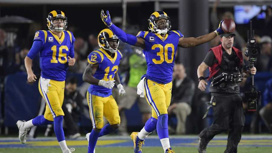 Los Angeles Rams running back Todd Gurley celebrates after scoring against the Dallas Cowboys during the first half in an NFL divisional football playoff game Saturday, Jan. 12, 2019, in Los Angeles.