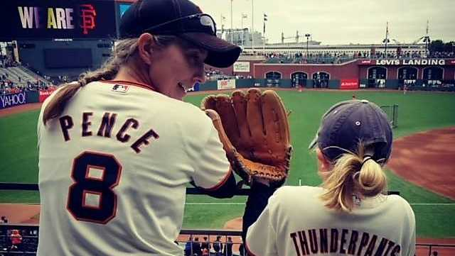 Jennifer Golick at a Giants game with her daughter.