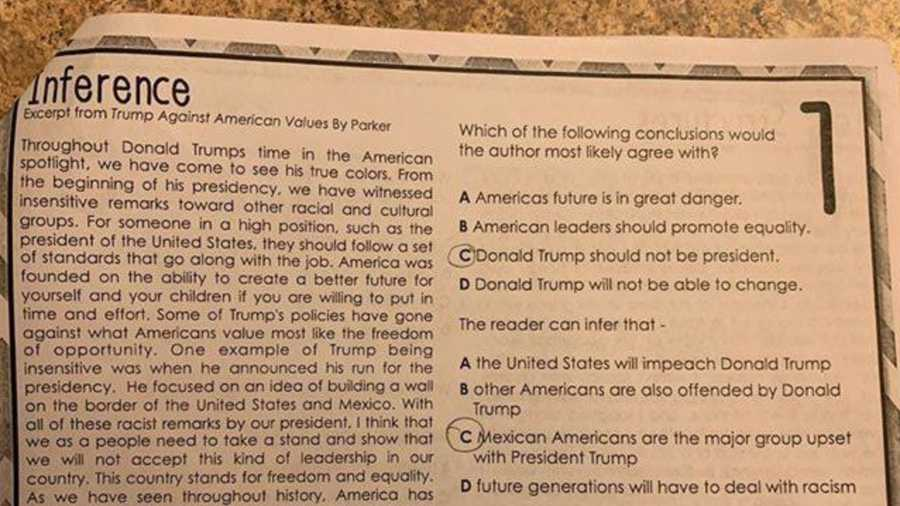 In a Facebook post, state Rep. Briscoe Cain, R-Deer Park, shared a school assignment about President Donald Trump.