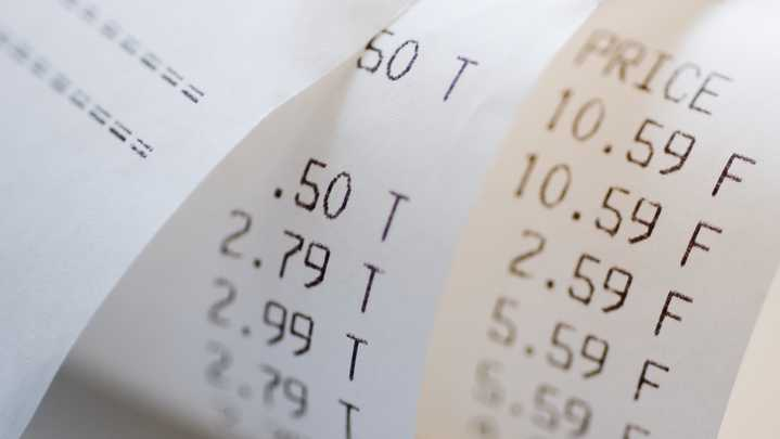 receipts show various costs in this file photo