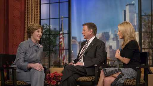 "Former First Lady  Laura Bush participates in an interview with Regis Philbin and Kelly Ripa during an appearance on ""Live with Regis and Kelly"" in New York, Tuesday, Oct. 19, 2004."